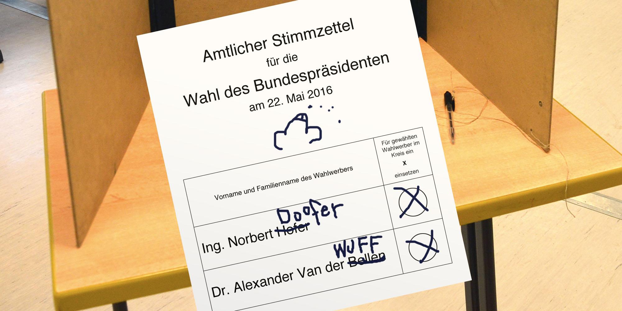 Wahlzettel mit Schmierereien