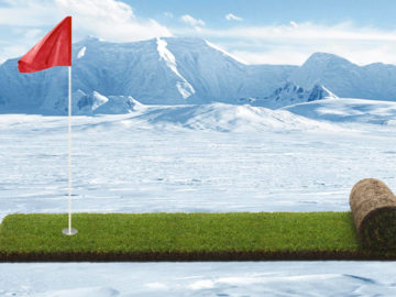 Rasenband in Eislandschaft