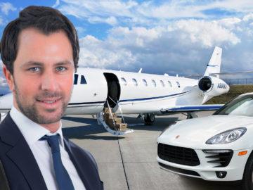 Dornauer steht vor einem Porsche und einem Privatjet