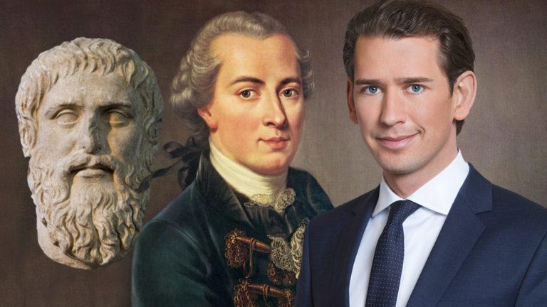 Sebastian Kurz neben Platon und Kant