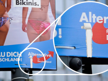 Riss in AfD-Plakat