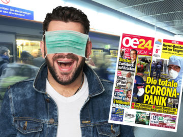 Mann trägt Grippemaske über den Augen