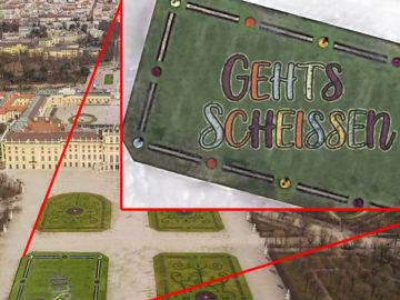 """Schönbrunn """"Gehts Scheißen"""" in Blumenbeet"""