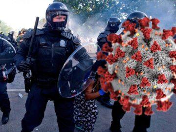 Coronavirus neben US-Polizei