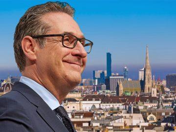 Strache vor Wiener Skyline