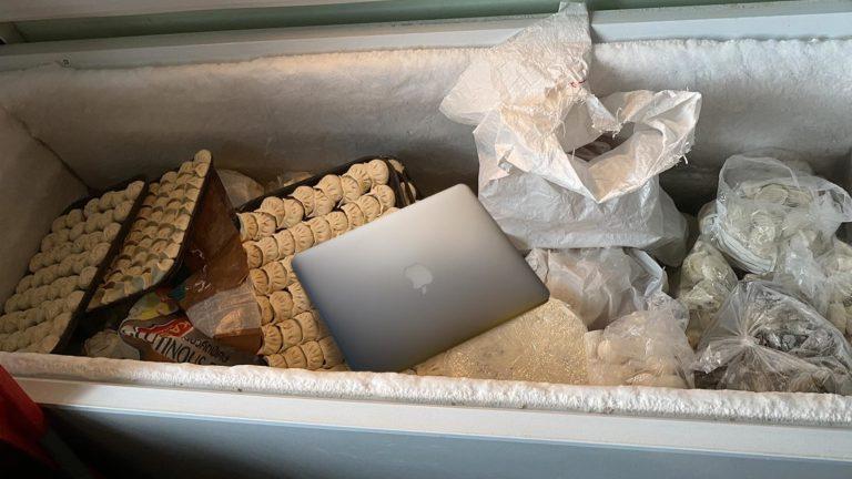Blümels Laptop zwischen Teigtascherl