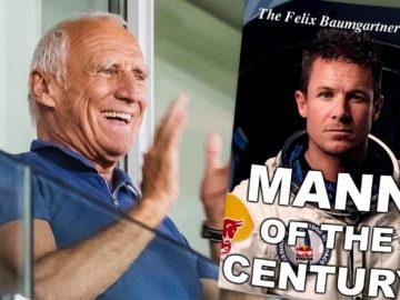 """Mateschitz, daneben Baumgartner auf Magazin-Cover mit der Aufschrift """"Mann of the Century"""""""