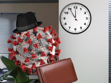 Coronavirus mit Hut und Koffer verlässt Büro