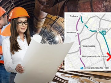 Ingenieure im U-Bahnschacht