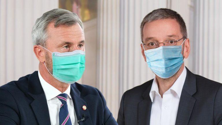 Hofer und Kickl mit Schutzmaske
