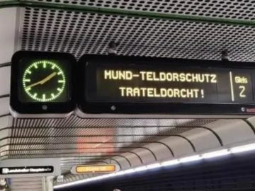 """Stationsanzeige """"Mund-Teldorschutz Trateldorcht!"""""""