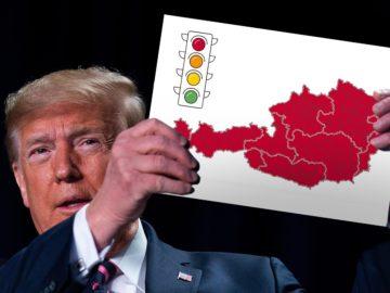 Trump hält Foto mit Corona-Ampel hoch