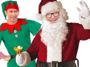 Anschober als Santa Claus, dahinter Kurz als Weihnachtself