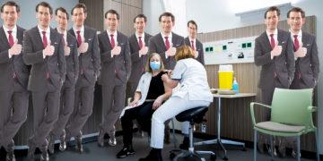 Pappaufsteller von Kurz bei einer Impfung