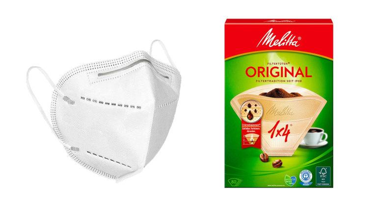 FFP2-Maske neben Kaffeefilter von Melitta