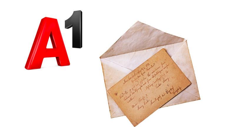 Altes Kuvert, daneben A1 Logo