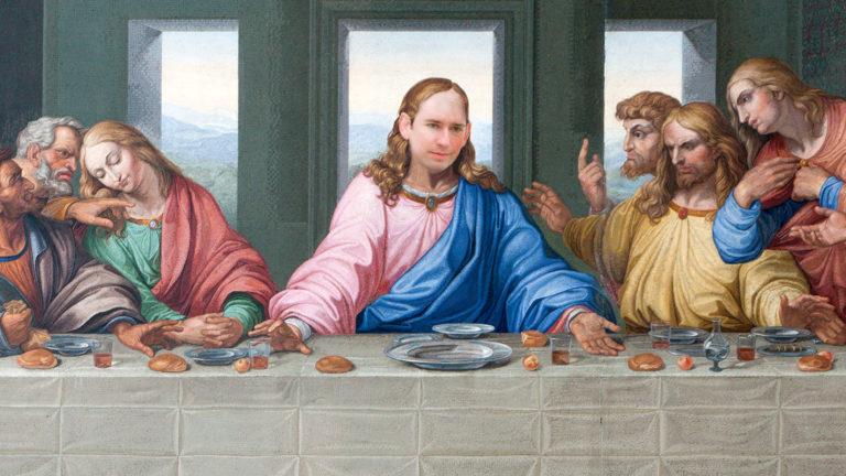 Letztes Abendmahl mit Kurz als Jesus
