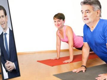 Kogler und Maurer machen Yoga-Übung vor Foto von Sebastian Kurz