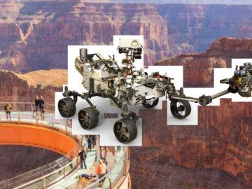Schlechte Bildmontage, auf der die Raumsonde im Grand Canyon steht