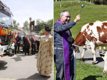 Priester segnen Feuerwehrauto und Kühe