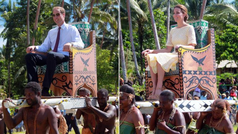 William und Kate werden von Schwarzen getragen