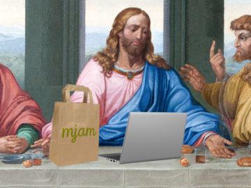 Jesus beim letzten Abendmahl mit Laptop und Mjam-Tasche