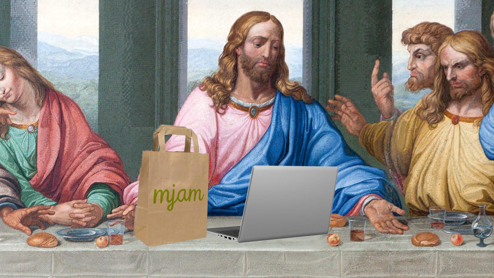 Restaurants-geschlossen-Jesus-muss-letztes-Abendmahl-auf-Mjam-bestellen