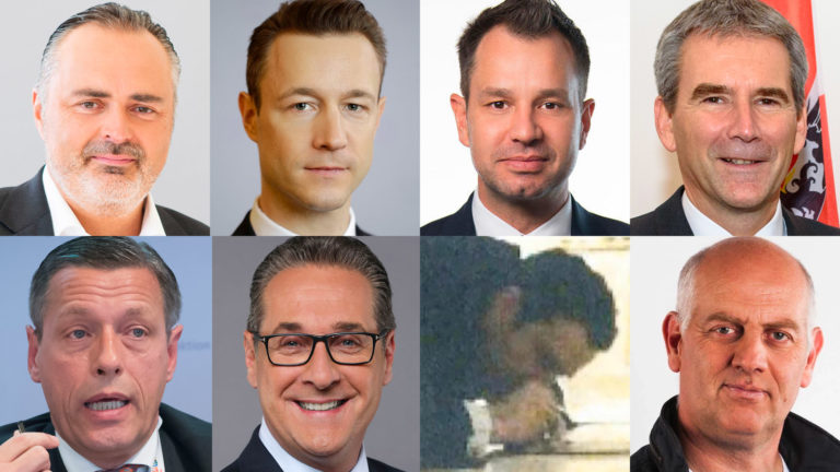 Doskozil, Blümel, Schmid, Löger, Pilnacek, Strache, Gudenus und Chorherr