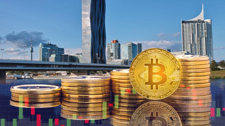Donaustadt mit Bitcoins davor