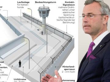 Hofer vor Plänen der Berliner Mauer