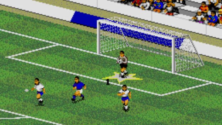 Extrem pixeliges altes Fußball-Spiel