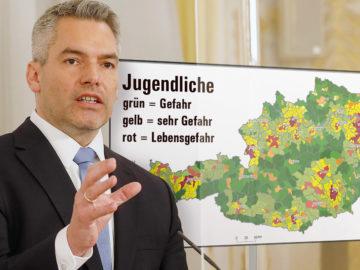 Nehammer vor Österreich-Karte