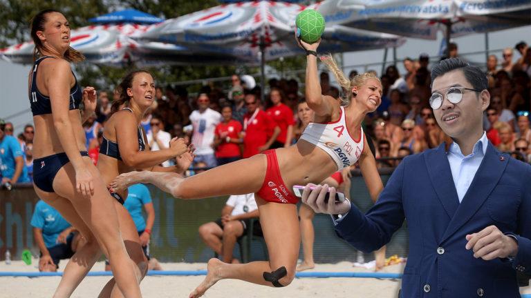 Beach-Handballerinnen und Martin Ho