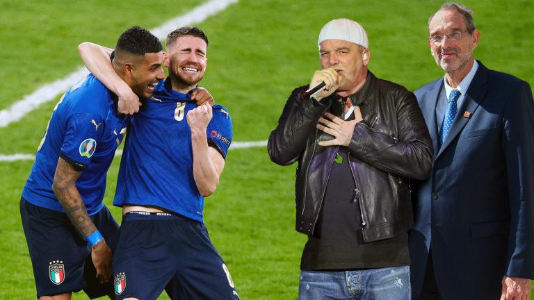 Italiener feiern DJ Ötzi, daneben Faßmann