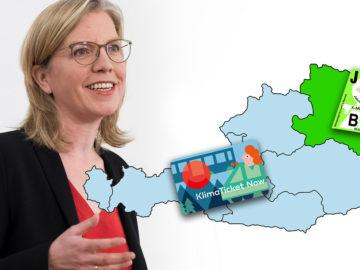 Gewessler neben Österreich-Landkarte