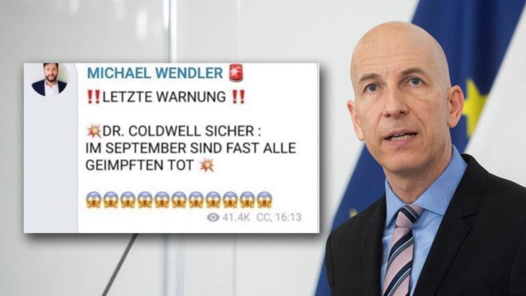 Martin Kocher, daneben Telegram-Chat von Michael Wendler, der Massensterben vorhersagt