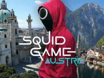 Titelbild von squidgameaustria zeigt den Karlsplatz und Hallstatt